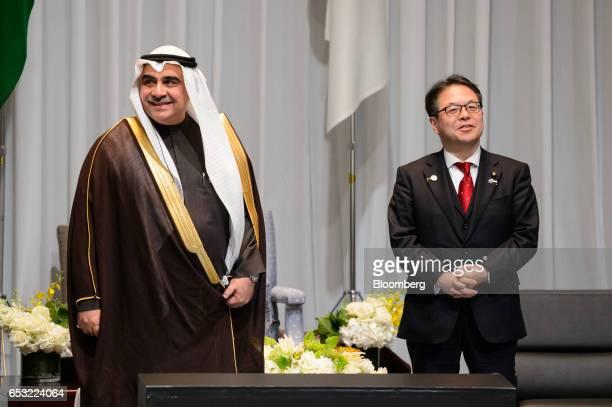 Adel bin Muhammed Fakieh Saudi Arabia's economy and planning minister left and Hiroshige Seko Japan's economy minister attend the Saudi ArabiaJapan...