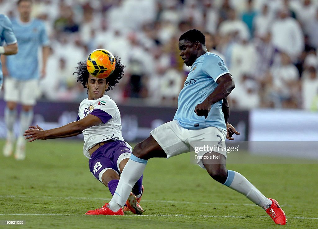 Adel Gamal of Al Ain takes a shot at goal during the friendly match between Al Ain and Manchester City at Hazza bin Zayed Stadium on May 15, 2014 in Al Ain, United Arab Emirates.