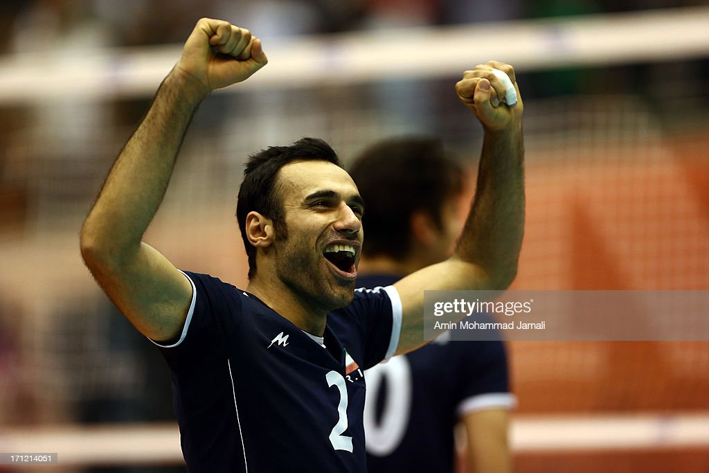 Adel Gholami of Iran elebrates during the Volleyball World League match between Iran and Serbia on June 23, 2013 in Tehran, Iran Azadi Complex.