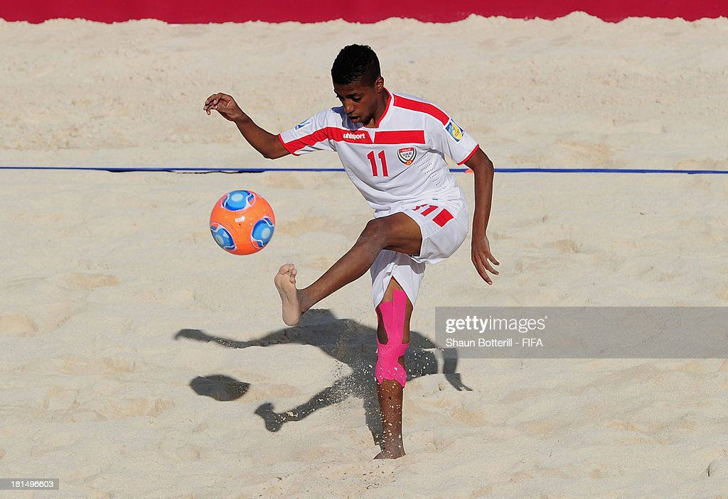 Adel Ranjbar of United Arab Emirates controls the ball during the FIFA Beach Soccer World Cup Tahiti 2013 Group A match between United Arab Emirates and Spain at the Tahua To'ata stadium on September 21, 2013 in Papeete, French Polynesia.