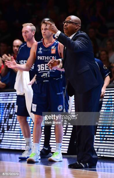 Adelaide 36ers coach Joey Wright and Nathan Sobey during the round seven NBL match between Adelaide 36ers and the Sydney Kings at Titanium Security...
