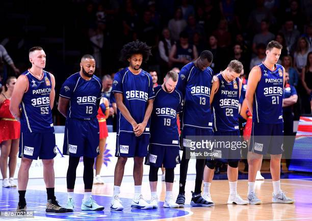 Adelaide 36ers stand for the national anthem during the round seven NBL match between Adelaide 36ers and the Sydney Kings at Titanium Security Arena...