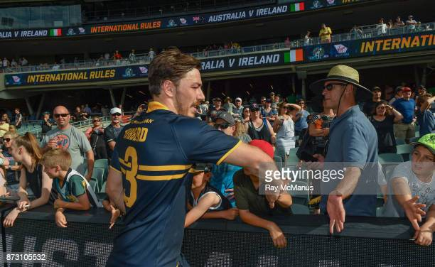 Adelaide Australia 12 November 2017 Michael Hibberd of Australia celebrates with supporters after the Virgin Australia International Rules Series 1st...