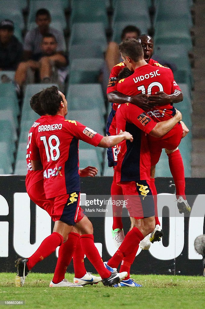 Adelaide celebrate a goal by Dario Vidosic during the round eight A-League match between Sydney FC and Adelaide United at Allianz Stadium on November 23, 2012 in Sydney, Australia.