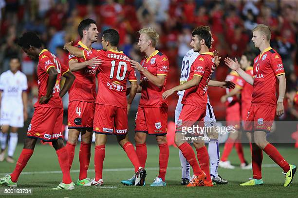 Adelaide celebrate their win during the round nine ALeague match between Adelaide United and Perth Glory at Coopers Stadium on December 6 2015 in...