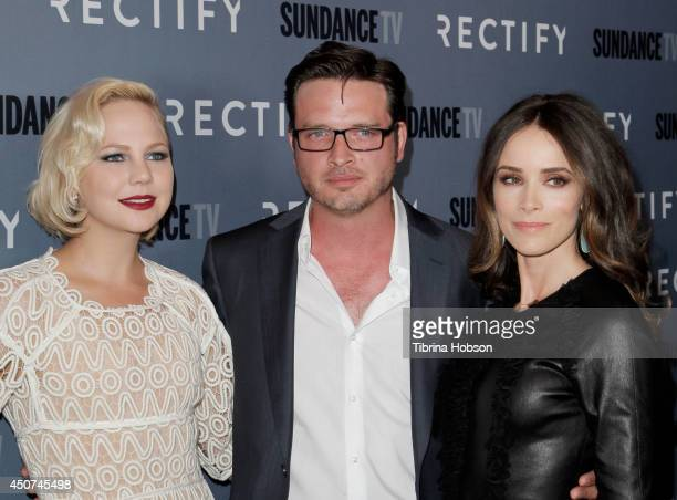 Adelaide Clemens Aden Young and Abigail Spencer attend the SundanceTV's series season 2 premiere of 'Rectify' at Sundance Sunset Cinema on June 16...