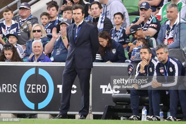 Adelaide coach Guillermo Amor looks on during the round 21 ALeague match between Melbourne Victory and Adelaide United at AAMI Park on February 25...