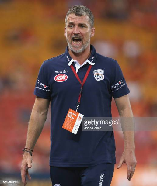 Adelaide Coach Marco Kurz reacts during the round two ALeague match between the Brisbane Roar and Adelaide United at Suncorp Stadium on October 13...