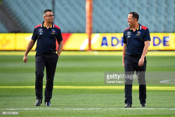 Adelaide Crows Assistant Coach Scott Camporeale and Adelaide Crows Senior Coach Don Pyke walk from the ground prior to the First AFL Preliminary...