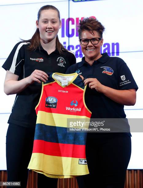 Adelaide Crows Coach Bec Goddard poses for a photo with Jessica Allan during the 2017 NAB AFL Women's Draft at Docklands on October 18 2017 in...