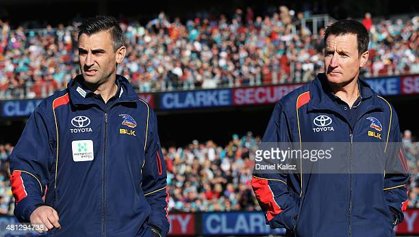 Adelaide Crows interim Senior Coach Scott Camporeale and Adelaide Crows interim coaching diretor John Worsfold are pictured during the round 16 AFL...