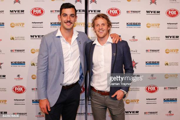 Adelaide Crows players Taylor Walker and Rory Sloane of arrive ahead of the AFL Players' MVP Awards at Shed 14 Central Pier on September 12 2017 in...