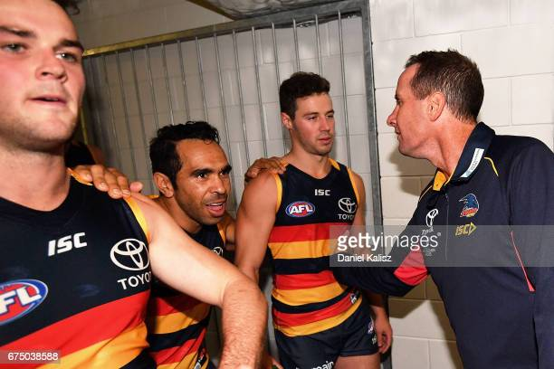 Adelaide Crows Senior Coach Don Pyke congratulates his players after the round six AFL match between the Adelaide Crows and the Richmond Tigers at...