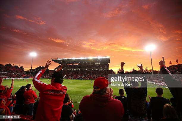 Adelaide fans celebrate a goal during the round two ALeague match between Adelaide United and the Western Sydney Wanderers at Coopers Stadium on...