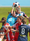 Adelaide goalkeeper Melissa Barbieri makes a save during the round five WLeague match between Melbourne and Adelaide at Lakeside Stadium on October...