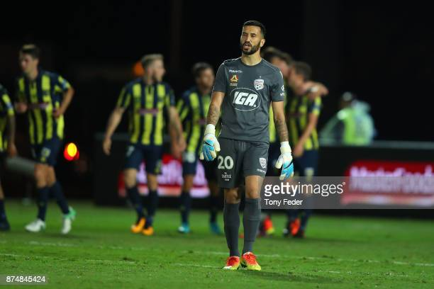 Adelaide goalkeeper Paul Izzo after the Mariners scored from the penalty spot during the round seven ALeague match between the Central Coast Mariners...