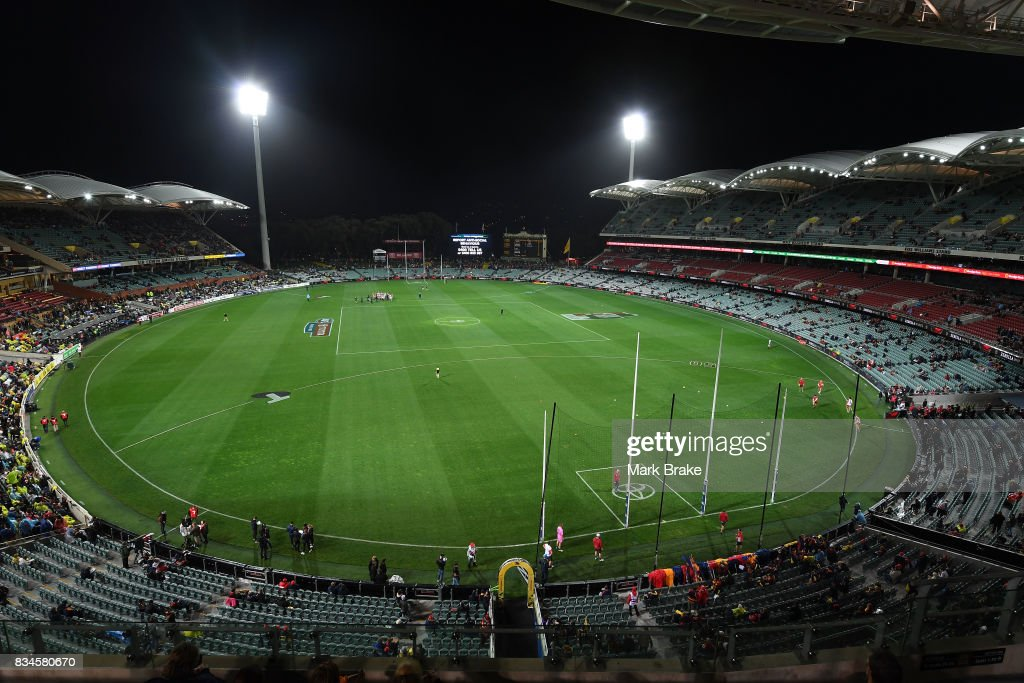 Adelaide oval from the Riverbank Stand before start of round 22 AFL match between the Adelaide Crows and the Sydney Swans at Adelaide Oval on August 18, 2017 in Adelaide, Australia.