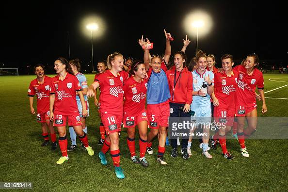 Adelaide players celebrate after the round 12 WLeague match between Adelaide United and the Western Sydney Wanderers at Elite Systems Football Centre...