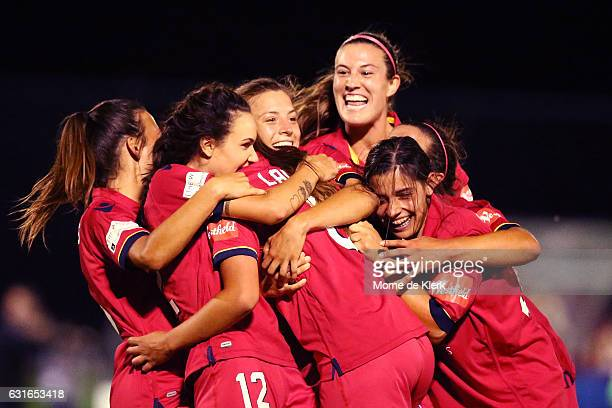 Adelaide players celebrate their 10th goal of the game by Ally Ladas of Adelaide United during the round 12 WLeague match between Adelaide United and...