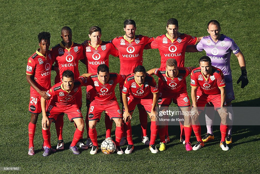 Adelaide players pose for a team photograph before the start of the 2015/16 A-League Grand Final match between Adelaide United and the Western Sydney Wanderers at the Adelaide Oval on May 1, 2016 in Adelaide, Australia.
