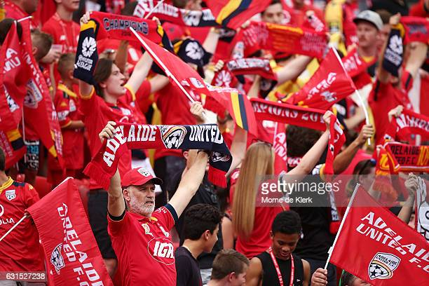 Adelaide supporters in The Red Army cheers during the round 15 ALeague match between Adelaide United and Melbourne City FC at Coopers Stadium on...