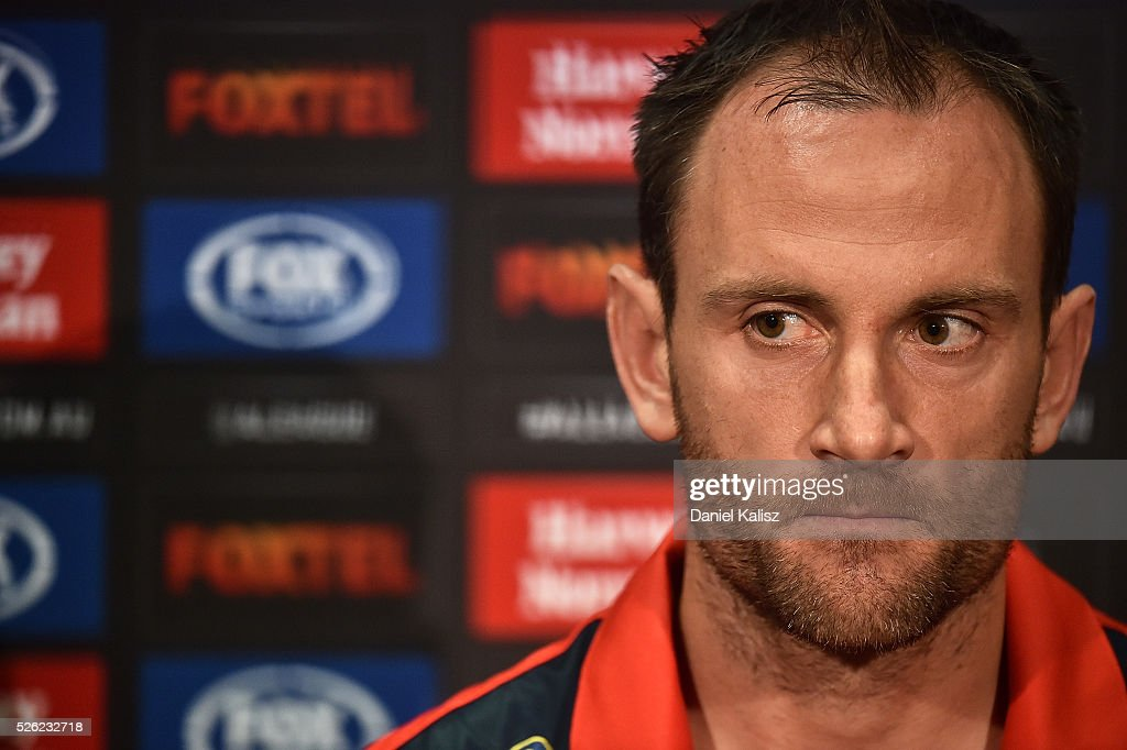 Adelaide United captain Eugene Galekovic speaks to the media during the A-League Grand Final press conference at Coopers Stadium on April 30, 2016 in Adelaide, Australia.