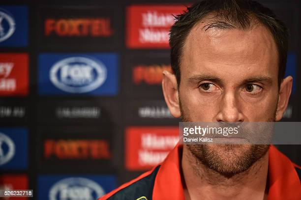 Adelaide United captain Eugene Galekovic speaks to the media during the ALeague Grand Final press conference at Coopers Stadium on April 30 2016 in...