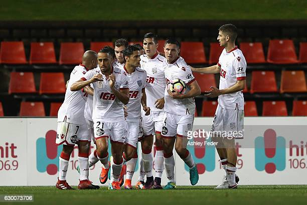 Adelaide United celebrate a goal during the round 11 ALeague match between the Newcastle Jets and Adelaide United at McDonald Jones Stadium on...