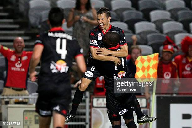 Adelaide United celebrate a goal from Isaias during the round 19 ALeague match between the Central Coast Mariners and Adelaide United at Central...