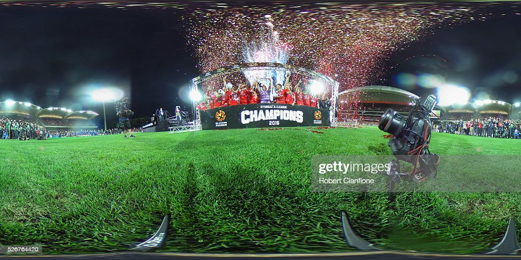 Adelaide United celebrate after they defeated the Wanderers during the 2015/16 A-League Grand Final match between Adelaide United and the Western Sydney Wanderers at Adelaide Oval on May 1, 2016 in Adelaide, Australia.