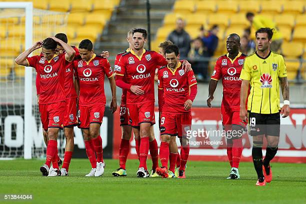 Adelaide United celebrate the goal of Stefan Mauk during the round 22 ALeague match between the Wellington Phoenix and Adelaide United at Westpac...