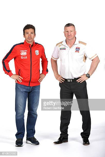 Adelaide United coach Guillermo Amor and Newcastle Jets coach Mark Jones pose during the 206/17 ALeague media day at AAMI Park on September 28 2016...