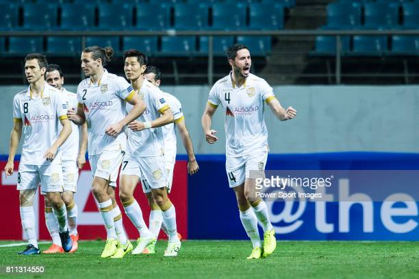 Adelaide United Defender Dylan Mcgowan celebrating his score during the AFC Champions League 2017 Group Stage Group H match between Jeju United FC vs...