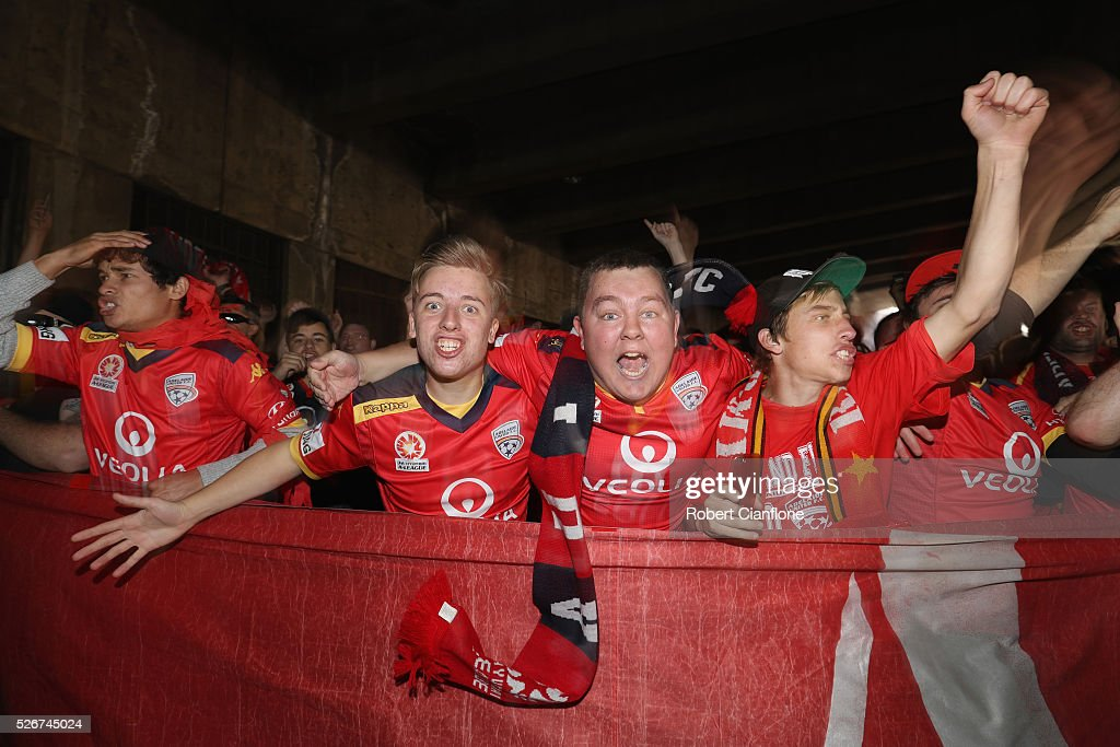 Adelaide United fans make their way to the 2015/16 A-League Grand Final match between Adelaide United and the Western Sydney Wanderers at Adelaide Oval on May 1, 2016 in Adelaide, Australia.