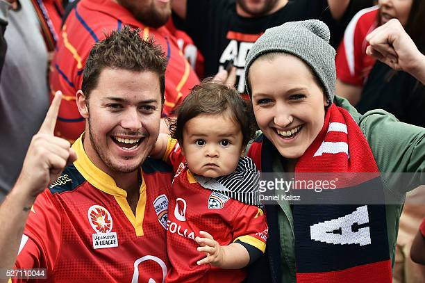 Adelaide United fans show their support during the Adelaide United ALeague Grand Final at Rundle Mall on May 2 2016 in Adelaide Australia