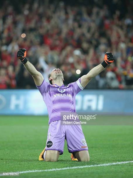 Adelaide United goalkeeper Eugene Galekovic celebrates after United defeated the Wanderers during the 2015/16 ALeague Grand Final match between...