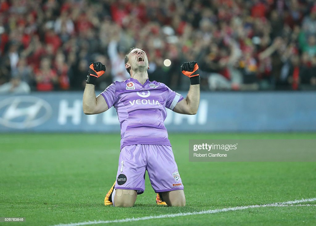 Adelaide United goalkeeper Eugene Galekovic celebrates after United defeated the Wanderers during the 2015/16 A-League Grand Final match between Adelaide United and the Western Sydney Wanderers at Adelaide Oval on May 1, 2016 in Adelaide, Australia.