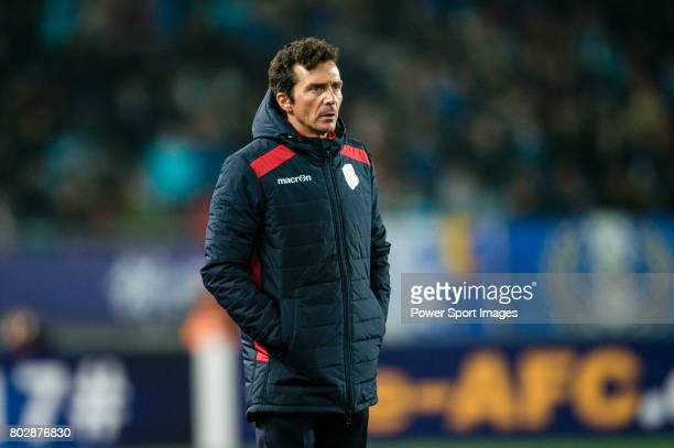 Adelaide United head coach Amor Guillermo during the AFC Champions League 2017 Group H match between Jiangsu FC vs Adelaide United at the Nanjing...