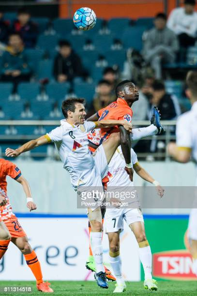 Adelaide United Midfielder Isaias Sanchez fights for the ball with Jeju United Forward Frederic Mendy during the AFC Champions League 2017 Group...