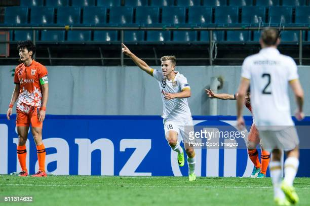 Adelaide United Midfielder Riley Patrick Mcgree celebrating his score during the AFC Champions League 2017 Group Stage Group H match between Jeju...