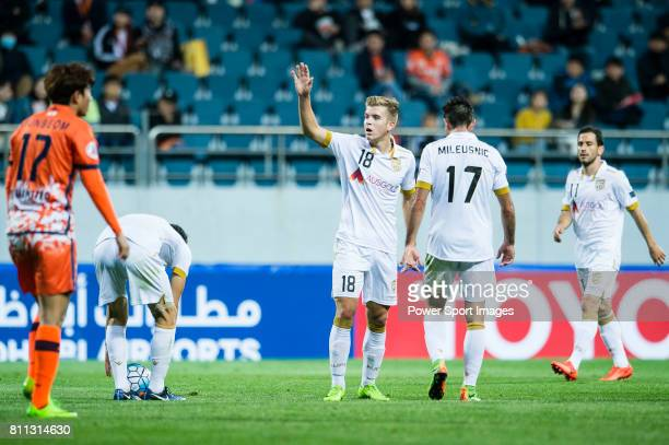 Adelaide United Midfielder Riley Patrick Mcgree gestures during the AFC Champions League 2017 Group Stage Group H match between Jeju United FC vs...