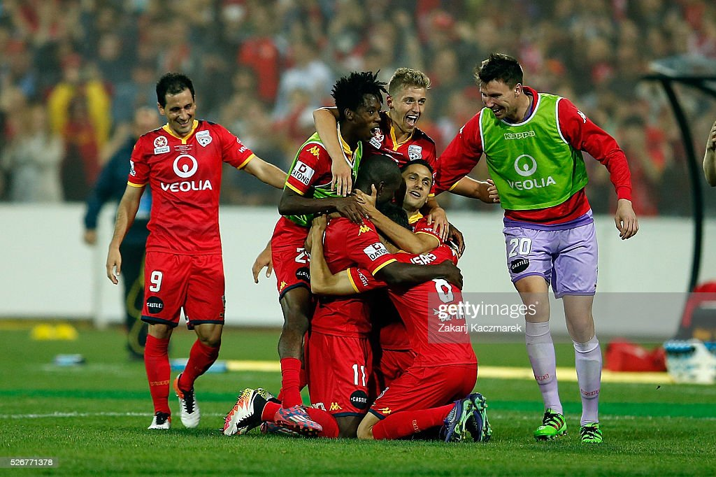Adelaide United players celebrates after scoring a goalebrate at the final whistle during the 2015/16 A-League Grand Final match between Adelaide United and the Western Sydney Wanderers at Adelaide Oval on May 1, 2016 in Adelaide, Australia.