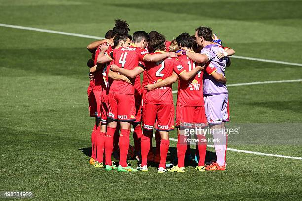 Adelaide United players form a huddle before the round seven ALeague match between Adelaide United and the Newcastle Jets at Coopers Stadium on...