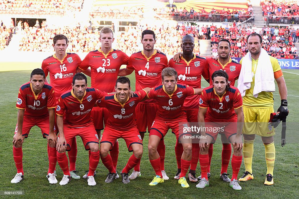 Adelaide United players pose for a photo prior to the AFC Champions League playoff match between Adelaide United and Shandong Luneng at Coopers Stadium on February 9, 2016 in Adelaide, Australia.