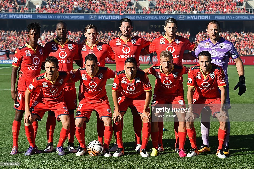 Adelaide United players pose for a team photo prior to the 2015/16 A-League Grand Final match between Adelaide United and the Western Sydney Wanderers at Adelaide Oval on May 1, 2016 in Adelaide, Australia.