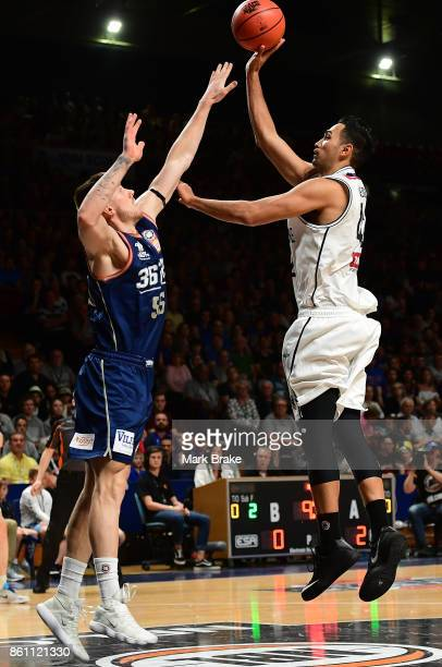 Adelaides Mitch Creek and Melb's Tai Wesley during the round two NBL match between the Adelaide 36ers and Melbourne United at Titanium Security Arena...