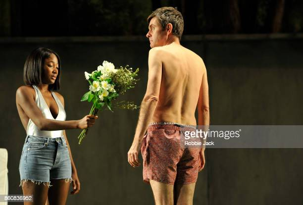 Adelayo Adedayo as Nina and Paul Higgins as Hugo in a new version by Simon Stephens of Anton Chekhov's The Seagull directed by Sean Holmes at the...