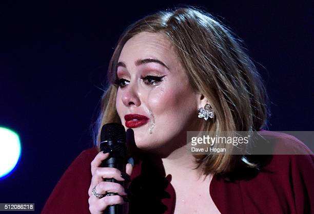 Adele accept the Global Success Award at the BRIT Awards 2016 at The O2 Arena on February 24 2016 in London England
