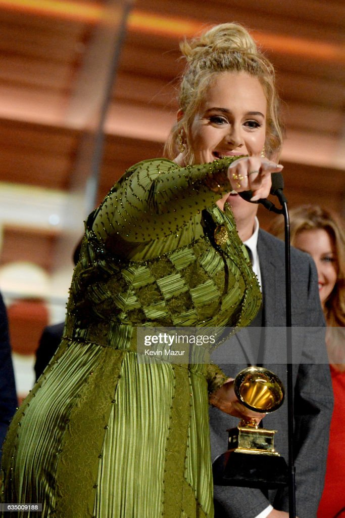 Adele accepts award onstage during The 59th GRAMMY Awards at STAPLES Center on February 12, 2017 in Los Angeles, California.