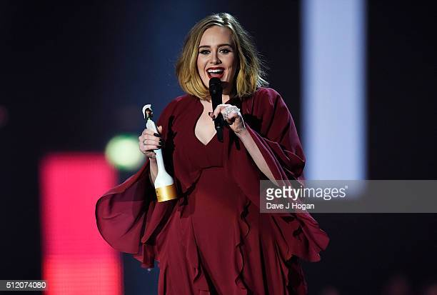 Adele accepts the award for British Female Solo Artist at the BRIT Awards 2016 at The O2 Arena on February 24 2016 in London England